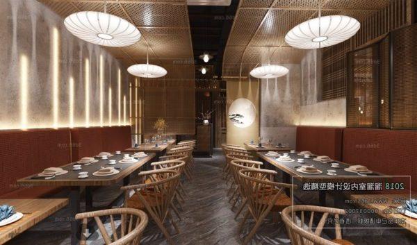 المشهد الداخلي لمطعم على الطراز الآسيوي