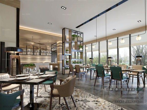 المشهد الداخلي لمطعم المشروبات الحديثة
