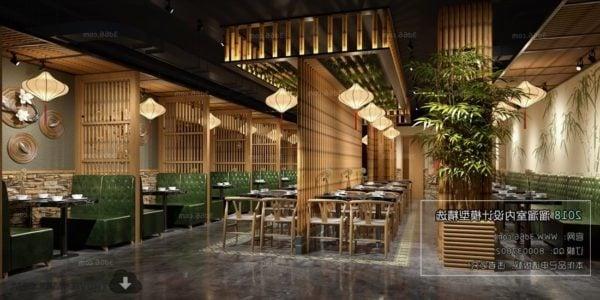 مشهد داخلي لمطعم على الطراز الخشبي الآسيوي