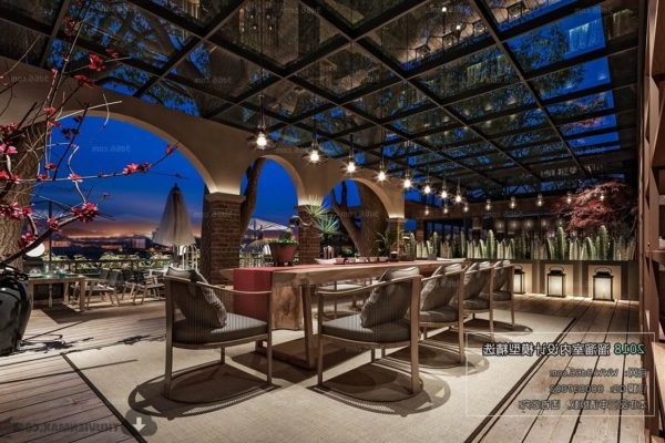 Escena interior del restaurante al aire libre superior del hotel