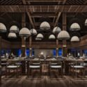 Asian Wood Style Restaurant Interior Scene