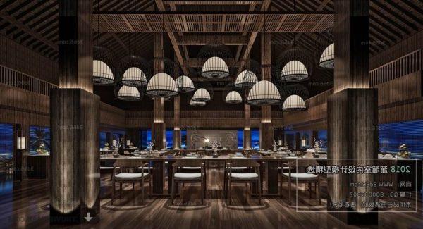 المشهد الداخلي لمطعم آسيوي وود ستايل
