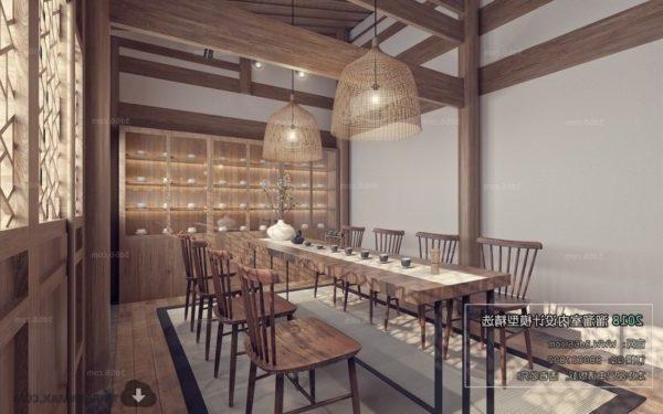 المشهد الداخلي لمطعم الشراب الآسيوي