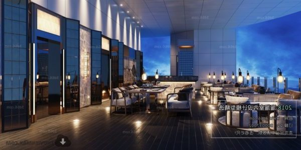 Escena interior del restaurante al aire libre de lujo del hotel