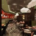 Asian Food Restaurant Interior Scene