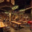 Wooden Industrial Style Restaurant Decor Interior Scene Interior Scene