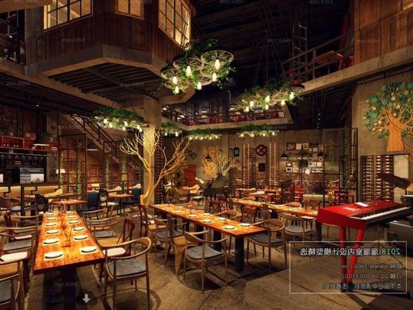 خشبي النمط الصناعي مطعم ديكور المشهد الداخلي المشهد الداخلي