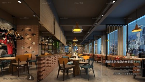 Industrial Restaurant Design Interior Scene