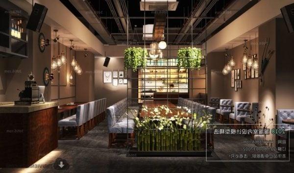 Industrial Design Coffee Shop Interior Scene