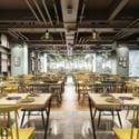 Escena de interior de restaurante de supermercado de estilo moderno