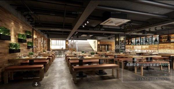 Modern Industrial Design Restaurant Interior Scene