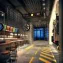 Industrial Design Small Bar Drink Shop Interior Scene