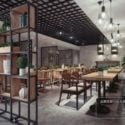 Modern Design Restaurant With Shelves Interior Scene