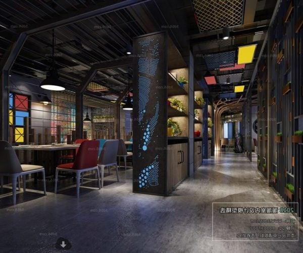 Restaurante Industrial Decoración Estilo Escena Interior