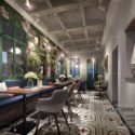 Restaurant With Flower Decoration Style Interior Scene