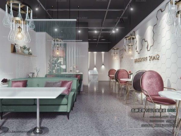 Diseño elegante Pequeño restaurante Interior Escena