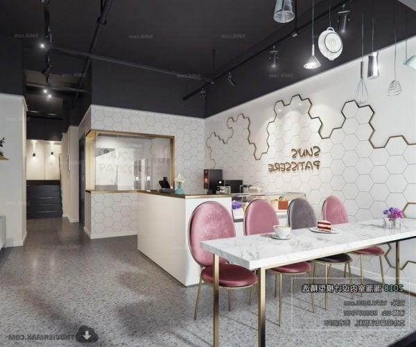 Restaurante elegante diseño decoración de la pared escena interior