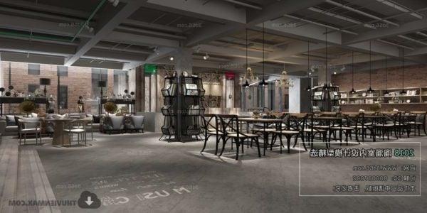 Industrial Style Retro Coffee Shop Interior Scene