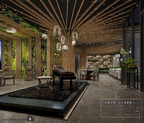 Luxury Restaurant With Tree Decoration Interior Scene