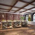Mixed Use Bookstore Coffee Shop Interior Scene