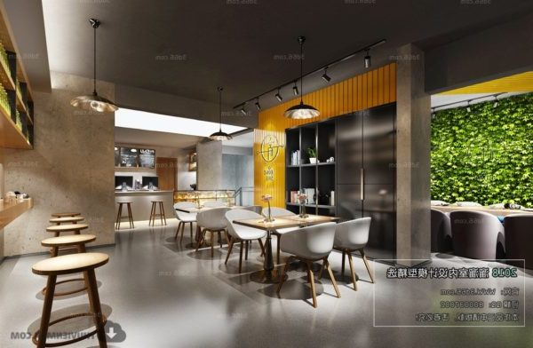 Minimalist Coffee Drink Shop Interior Scene