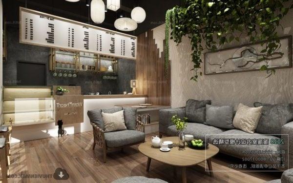 Coffee Shop With Sofa Armchair Interior Scene