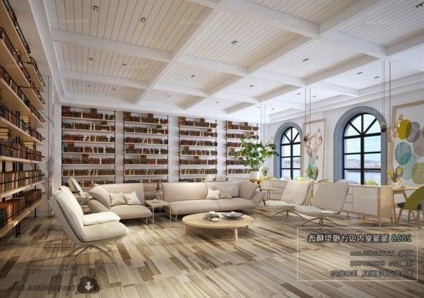 Book Coffee Shop Interior Scene