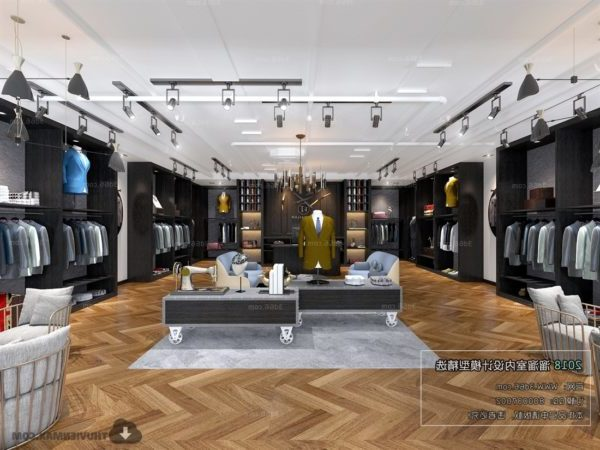 Modern Style Clothing Store Interior Scene