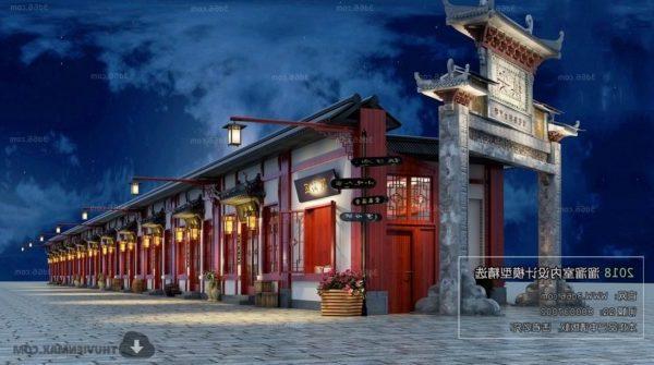 Kiinalainen perinteinen kaupunkinäkymä