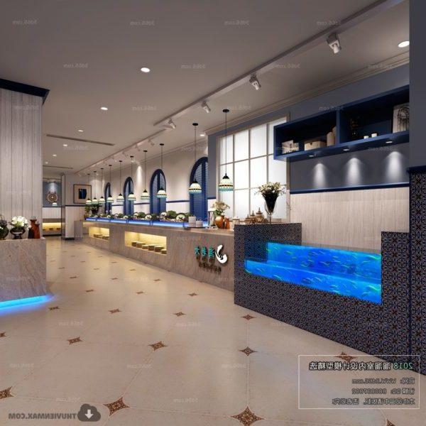 المشهد الداخلي لمطعم فندق البحر الأبيض المتوسط