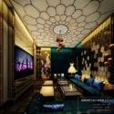 Golden Decor Karaoke Room Interior Scene