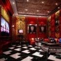 Retro Style Karaoke Room Interior Scene