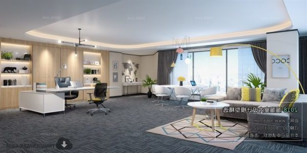 Contemporary Office Manager Workspace Interior Scene