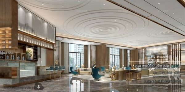 Hotel Hall Space With Bar Interior Scene