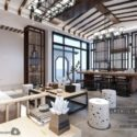 Chinese Elegant Tea Room Interior Scene