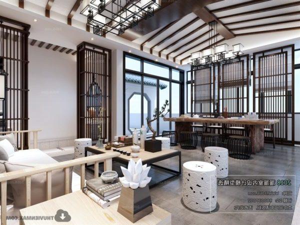 المشهد الداخلي لغرفة الشاي الصينية الأنيقة