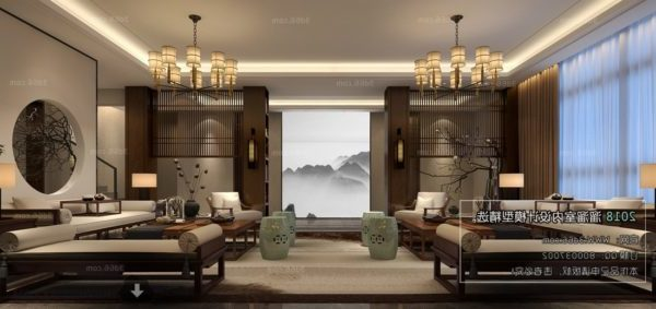 Chinese Vintage Luxury Spa Interior Scene