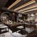 Elegant Design Tea Restaurant Interior Scene