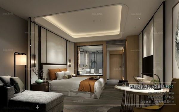 Modern Bedroom Glass Bathroom Interior Scene
