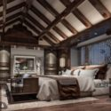 Loft Bedroom Interior Scene