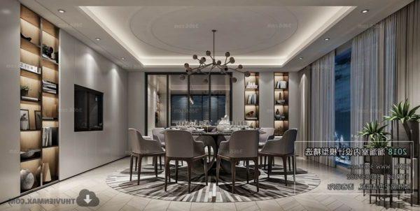 Moderni talo ruokasali sisustus kohtaus