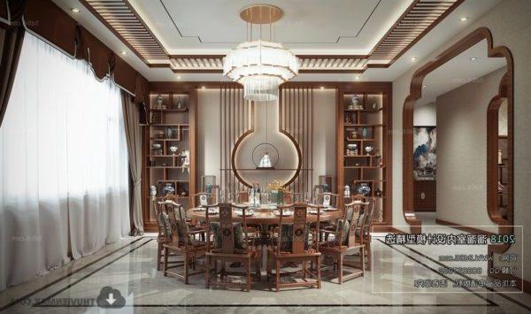 Kiinalaisen talon ruokasalin sisustus