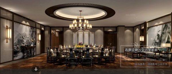 Kiinalainen moderni ruokasalin sisustus