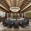Classic Dinning Room Chinese Style Interior Scene