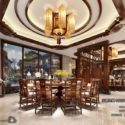 Chinese Wood Style Dinning Room Interior Scene