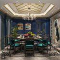 Blue Dinning Space Interior Scene