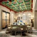 Mix Style Dinning Room Interior Scene