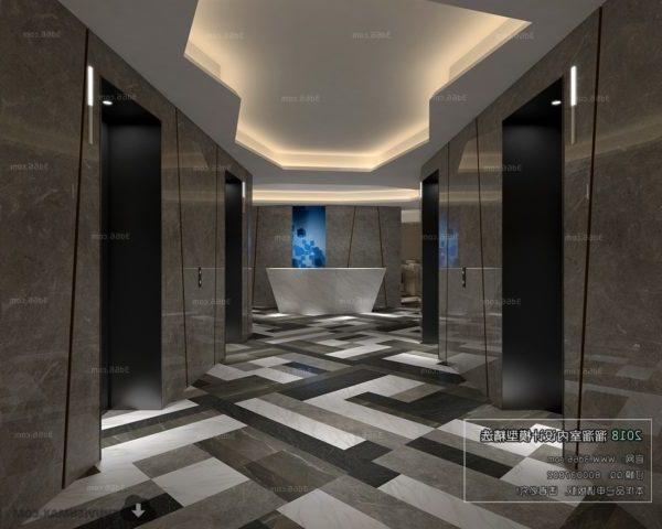 Hissi käytävän hotellin sisätiloissa