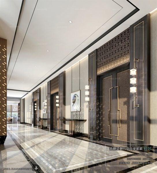 Luxury Design Hotel Lobby Interior Scene