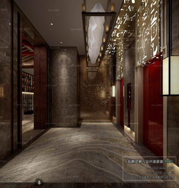 Kiinalaisen tyylin hotellin hissiaulan sisustuskohtaus